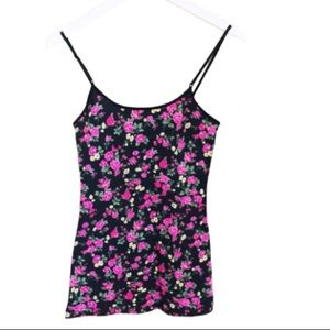 ZENANA OUTFITTERS Floral Scoop Neck Tank Black Size Small